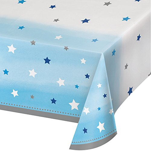 Creative Converting 322235 Festive All Over Print Plastic Tablecover, 54 x 102, Blue