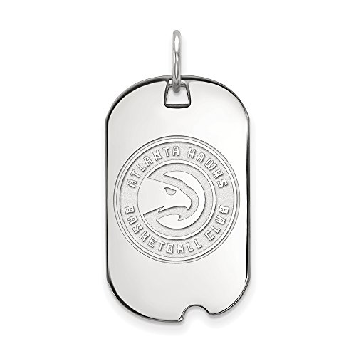 LogoArt NBA Atlanta Hawks Small Dog Tag Pendant in Rhodium Plated Sterling Silver by LogoArt
