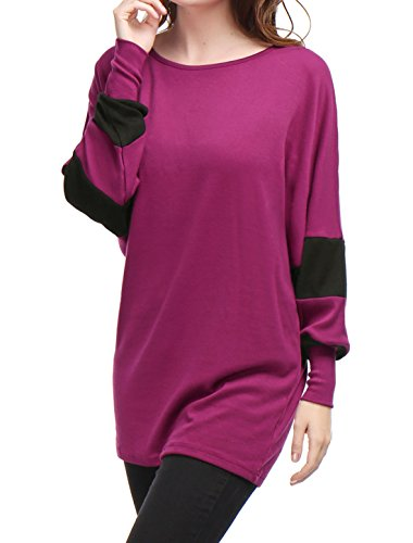 allegra-k-women-color-block-batwing-sleeves-loose-tunic-top-xl-purple