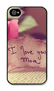 iPhone 4 Case,iPhone 4S Case,VUTTOO iPhone 4 Cover With Photo: I Love You Mom For Apple iPhone 4/4S - PC Black Hard Case