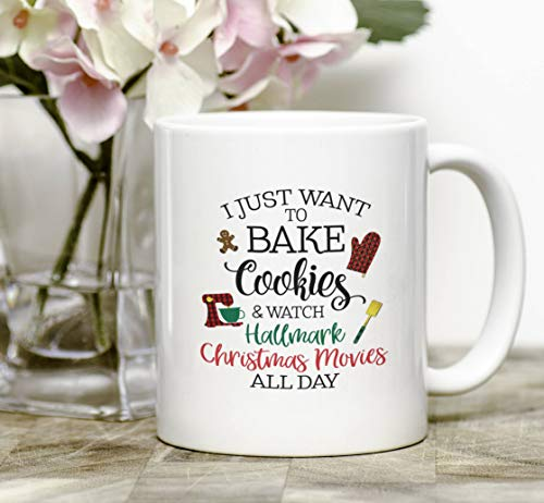 400 Christmas Cookie - Christmas Mug, I Just Want Bake Cookies And Watch HALLMARK CHRISTMAS MOVIES All Day, Buffalo Plaid, Bake Cookies, Baker Mug, Christmas Movie