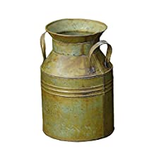 Your Hearts Delight Antique Green Milk Can, 6x6x9-Inch