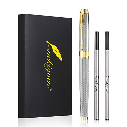 Nekigoen Rollerball Pen for Men Women Executive Home Office Use, with Gift Box and 2 Extra Refills Black Ink 0.7mm G2 (Sliver)