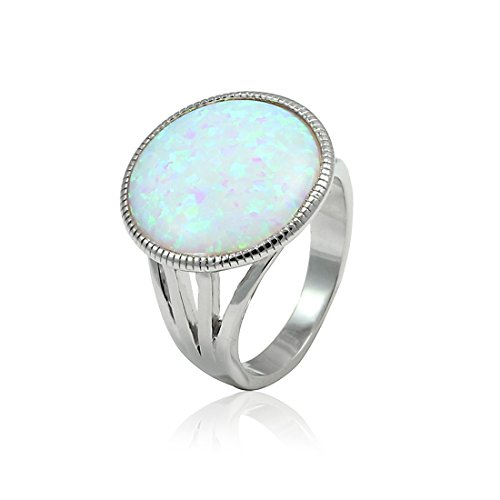 - Blue Apple Co. 18MM Solitaire Quadruple Split Shank Wedding Ring Round Cut Lab Created White Opal 925 Sterling Silver