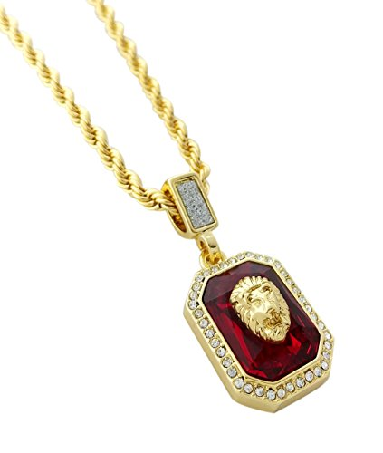 Exo Jewel Gold Lion Head Over Diamond Framed Ruby Pendant Necklace with 24