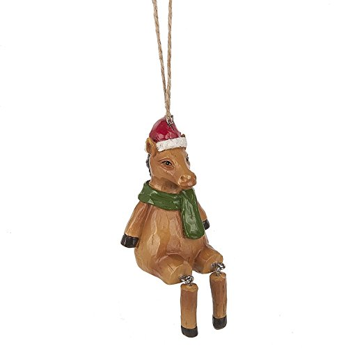 (Midwest-CBK Santa Claus Christmas Horse with Dangle Legs 2 x 4 Inch Resin Hanging Ornament)
