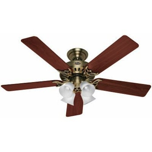 Hunter 20182 52 Inch Studio Series Ceiling Fan Antique Brass with Walnut/Medium Oak Blades ()