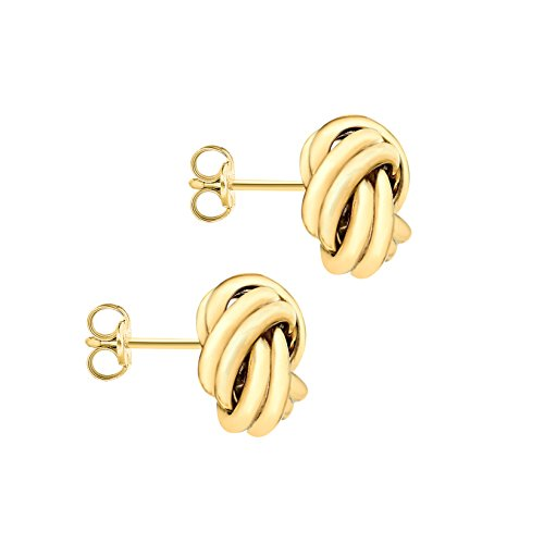Carissima Gold 9 ct Or jaune avec 10 mm Knot Stud Earrings