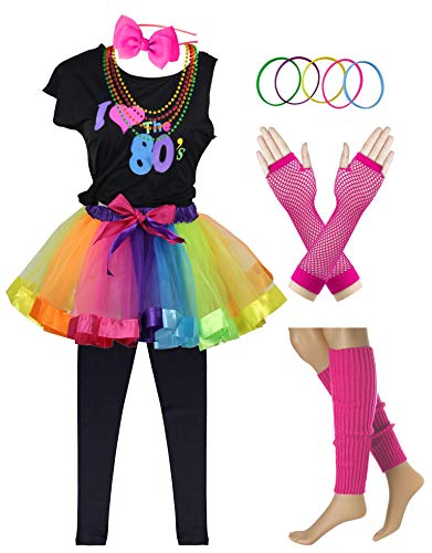 (I Love 80s Pop Party Rock Star Child Girl's Costume Accessories Fancy Outfits (8-10,)