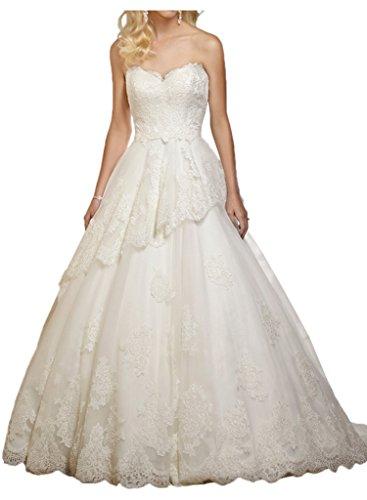 Lang Braut La Rock Elfenbein Hochzeitskleider mia Linie Romantisch Brautmode Prinzess Brautkleider A Spitze 6wxpqf7r5w