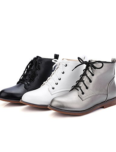 Grigio us9 donna Casual Scarpe Cn41 Nero lacci Tacco Stivali moda basso Bianco Abito Inverno Xzz da Uk7 Autunno Bianco Camminare Eu40 6FxqT