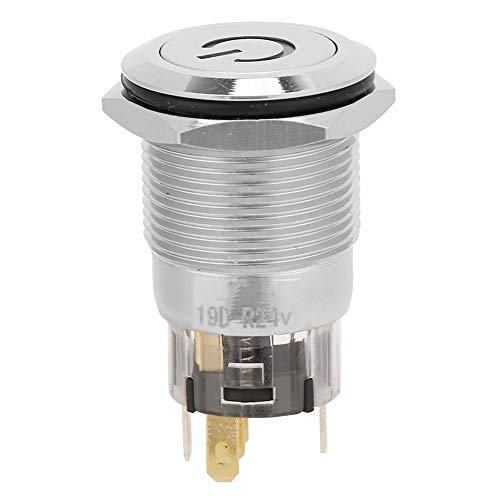 ニッケルメッキボタンスイッチ、40個の自動リセットフラットヘッドライト、電源ラベル付き電磁スターターコンタクター用の金属ボタンスイッチ(赤)
