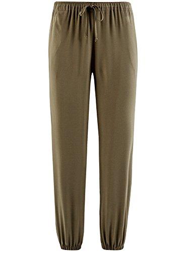 oodji Ultra Mujer Pantalones Ligeros de Viscosa con Cintura Elástica Verde (6800N)