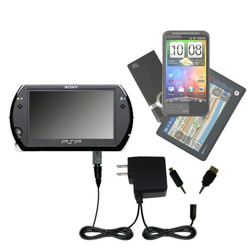 Gomadic Multi Port AC Home Wall Charger designed for the Sony PSP GO - Uses TipExchange to charge up to two devices at once by Gomadic