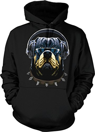 Rottweiler with Headphones and Sunglasses, DJ Rotty Hooded Sweatshirt, NOFO Clothing Co. XL - Fetch Sunglasses