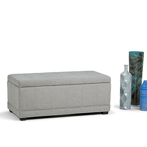 WyndenHall Norwood Storage Ottoman Bench Cloud Grey Faux Leather, Wood, Foam by Wynden Hall