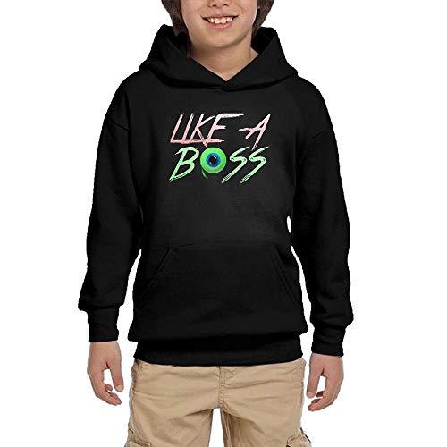 Youth Hooded Sweatshirt Like A Boss (Jacksepticeye) Personalized Fashion Customization Black -