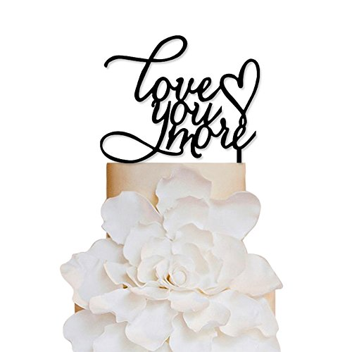 Wedding cake topper amazon sugar yeti brand made in usa cake toppers love you more heart wedding cake toppers wedding decoration acrylic cake topper for special events junglespirit Image collections