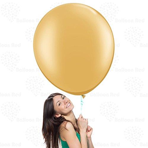 Latex Helium Balloon (36 Inch Giant Jumbo Latex Balloons (Premium Helium Quality), Pack of 6, Regular Shape - Metallic Gold)