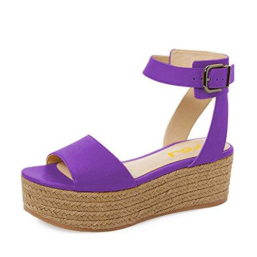 FSJ Women Casual Espadrilles Wedges Shoes Open Toe Slingback Sandals with Platform Size 7 (Purple Open Toe Platform)