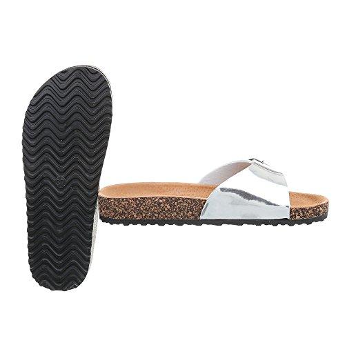 Ital-Design Zapatos Para Mujer Sandalias de Vestir Plano Zuecos Plateado KU-6