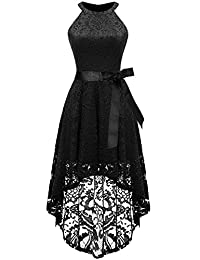 AVSUPPLY Women's Halter Floral Lace Cocktail Party Dress Hi-Lo Bridesmaid Dress