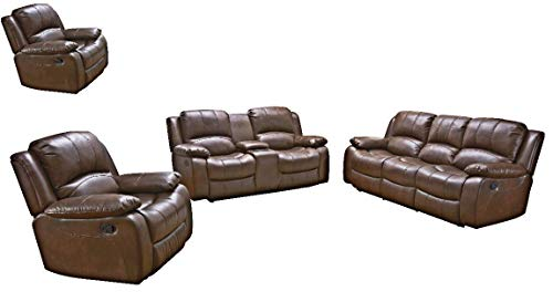 Betsy Furniture 4PC Bonded Leather Recliner Set Living Room Set in Brown, Sofa, Loveseat with Console, and Two Chairs, 8018-Brown (Living Room Set 3+2+21)