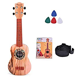 FUN LITTLE TOYS 21 Inch Toy Guitar Ukulele for Kids, Musical Instruments for Kids with Strap, Picks and Tutorial…