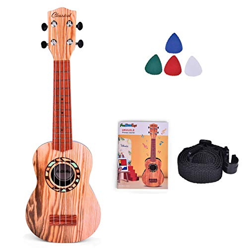 Fun Little Toys 21 Inch Toy Guitar Ukulele for Kids, Musical Instruments for Kids with Strap, Picks and Tutorial, Learning Educational Toys for Boys and Girls (Burlywood)