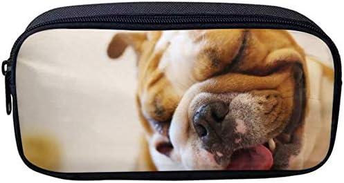 Estuche para lápices y lápices, estuche cosmético Bulldog inglés y estuche de viaje para oficina y escuela: Amazon.es: Oficina y papelería