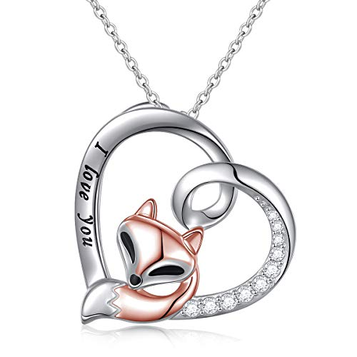 S925 Sterling Silver Engraved I Love You Red Fox in Heart Pendant Necklace for Women Girls (Red Fox in Heart) ()