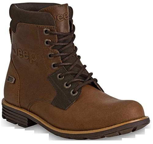 Jeep Men's Hiking Boots Ankle High Leather Outdoor Camping Work Shoes (10.5, Scrambler)