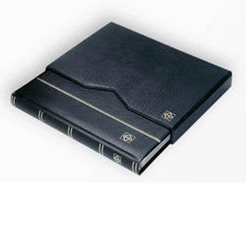 Lighthouse 64-Black Page Leather Stamp Stockbook LZS4/32K Black