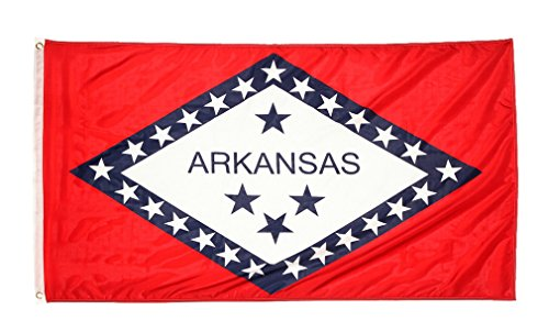 Shop72 US Arkansas State Flags: Arkansas Flag - 3x5' Flag From Sturdy 100D Polyester - Canvas Header Brass Grommets Double Stitched From Wind Side