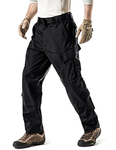 - CQR Men's ACU/BDU Rip Stop Trouser EDC Tactical Combat Pants, ACU Tag Button(uap02) - Black, Small(W28-32)-Regular