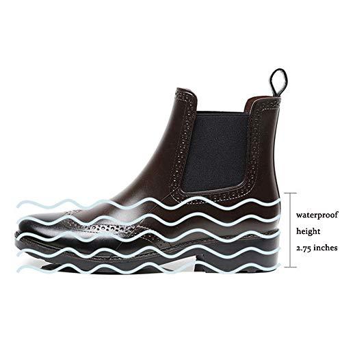Foncé Style Balabala Jardin Chelsea brogue Homme Bottes Boots 2 Bottines Ankle Femme Imperméable Marron Mini Caoutchouc Wellington Chaussures Pluie qdaRwxUU