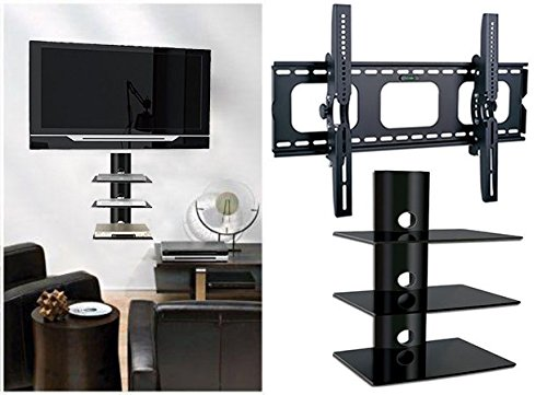 2xhome - NEW TV Wall Mount Bracket & Three(3) Triple Shelf Package – Secure LED LCD Plasma Smart 3D WiFi Flat Panel Screen Monitor Monitor Display Large Displays - Flat - Wall Stereo Rack