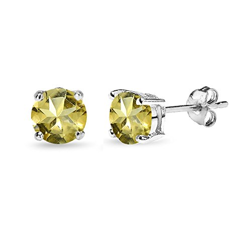 (Sterling Silver Citrine 6mm Round-Cut Solitaire Stud Earrings)