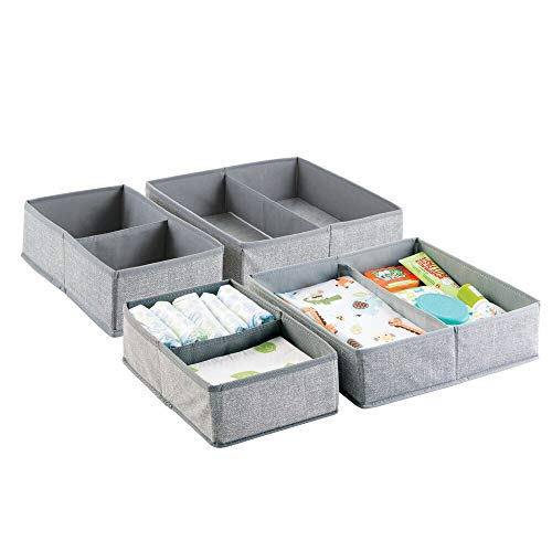 mDesign Soft Fabric Dresser Drawer and Closet Storage Organizer Set for Child/Kids Room, Nursery, Playroom, Bedroom - Rectangular Organizer Bins with Textured Print - Set of 4 - - Fabrics Nursery