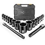 TACKLIFE 1/2-Inch Drive Large Socket Set, Metric, 10mm-32mm, Cr-V, 6-Point, 17-piece Shallow Impact Sockets Set with…