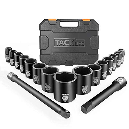 Drive Master Shallow Impact Socket Set,1/2-Inch Metric CR-V, 6-Point, 17-Piece Set - Tacklife HIS3A ()