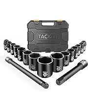 TACKLIFE 1/2-Inch Drive Master Shallow Impact Socket Set, Metric, CR-V, 6-Point, 17-Piece Set – HIS3A