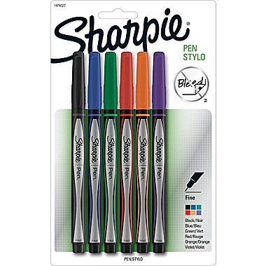 Sharpie 1751690 Plastic Point Stick Permanent Water Resistant Pen Assorted Fine 6/Pack ()