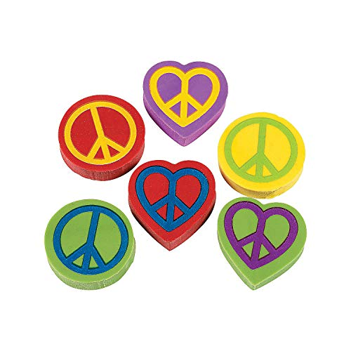 Fun Express - Peace Sign Erasers - Stationery - Pencil Accessories - Erasers - 24 ()