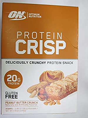 On Protein Crisp Deliciously Crunchy Snack, Peanut Butter Crunch, 4 Bars, Total Weight 7.9 oz