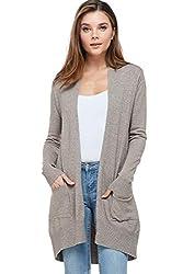 Alexander David Sweaters For Women Basic Open Front Knit Cardigan Sweater Top W Pockets Mocha Small Medium
