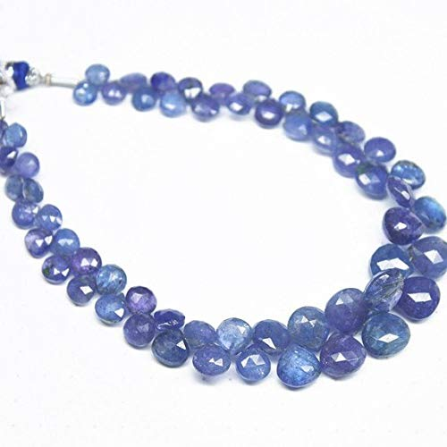 Beads Bazar Natural Beautiful jewellery Natural Tanzanite Faceted Heart Drop Briolette Gemstone Loose Craft Beads Strand 8