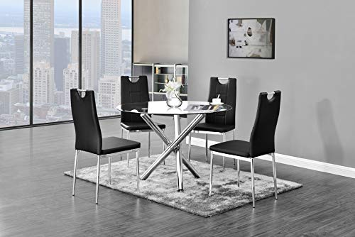 Best Master Furniture T248 Crystal 5 Pcs Round Glass Top Dinette Set, 5-Piece, Black