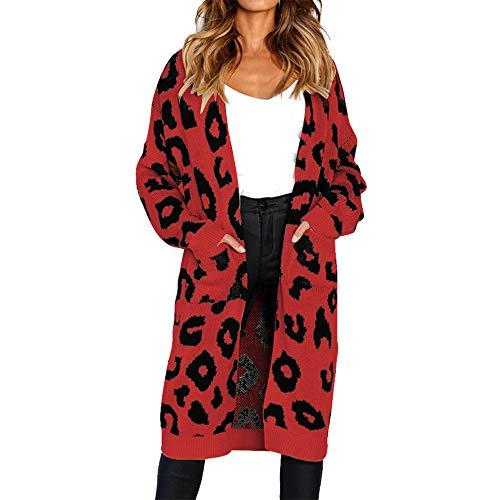 laamei Femme Automne Hiver Mi-Longue Cardigan Tricot Imprim lopard lgant Lache Manches Longues Manteaux Casual avec Poches Rouge