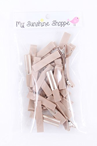 Partially LINED Double Prong Craft Alligator Clips - 25 Hair Clips - Tan